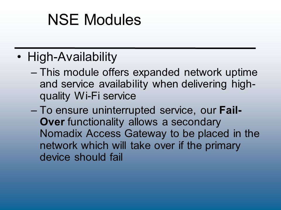 NSE Modules High-Availability