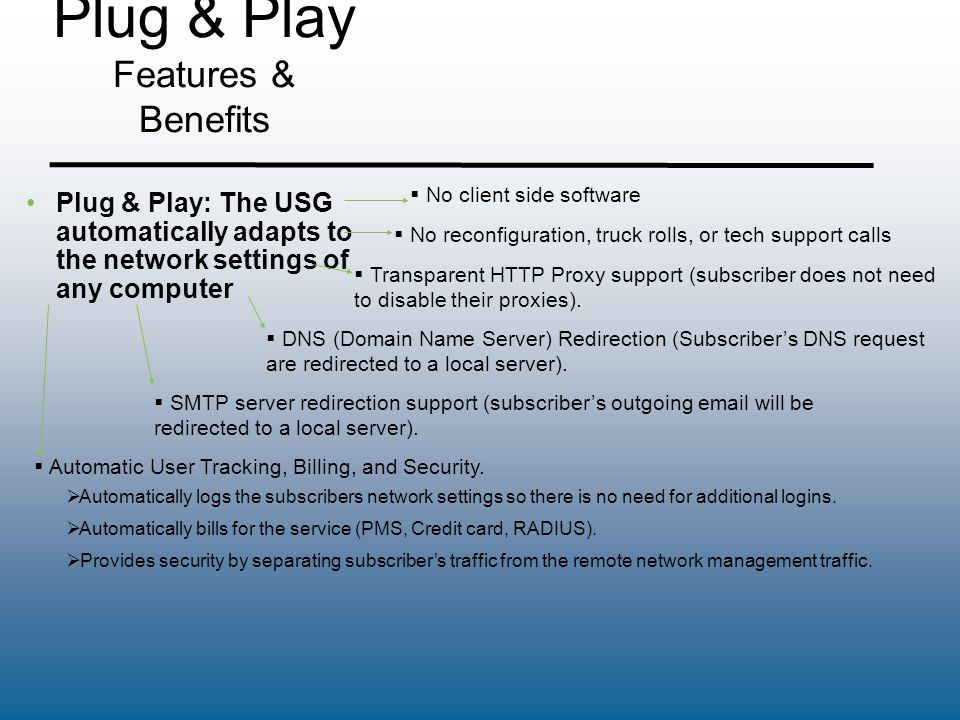 Plug & Play Features & Benefits