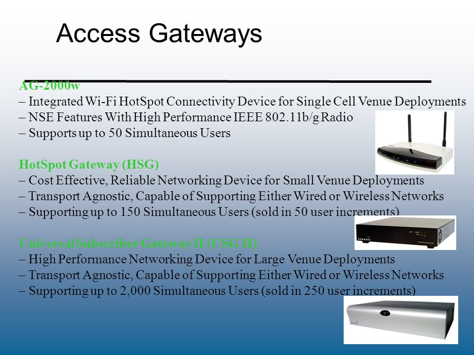 Access Gateways AG-2000w. Integrated Wi-Fi HotSpot Connectivity Device for Single Cell Venue Deployments.