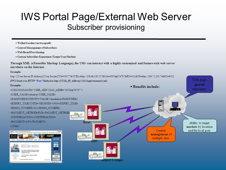 IWS Portal Page/External Web Server Subscriber provisioning