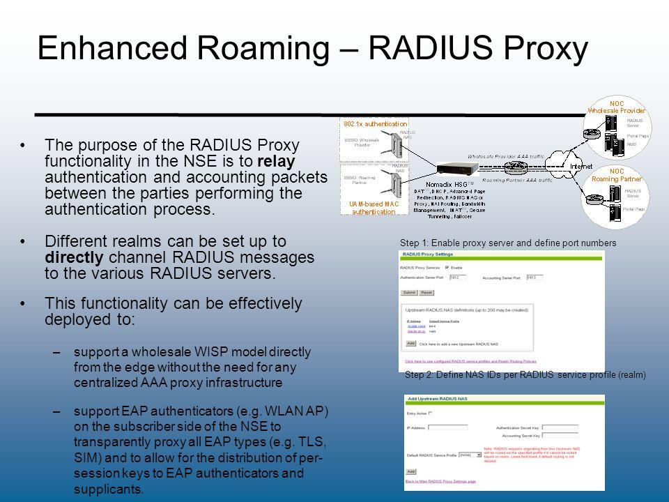 Enhanced Roaming – RADIUS Proxy