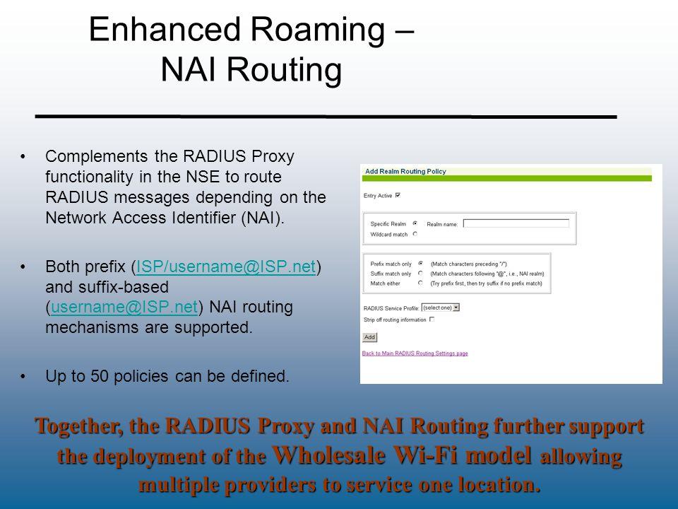 Enhanced Roaming – NAI Routing