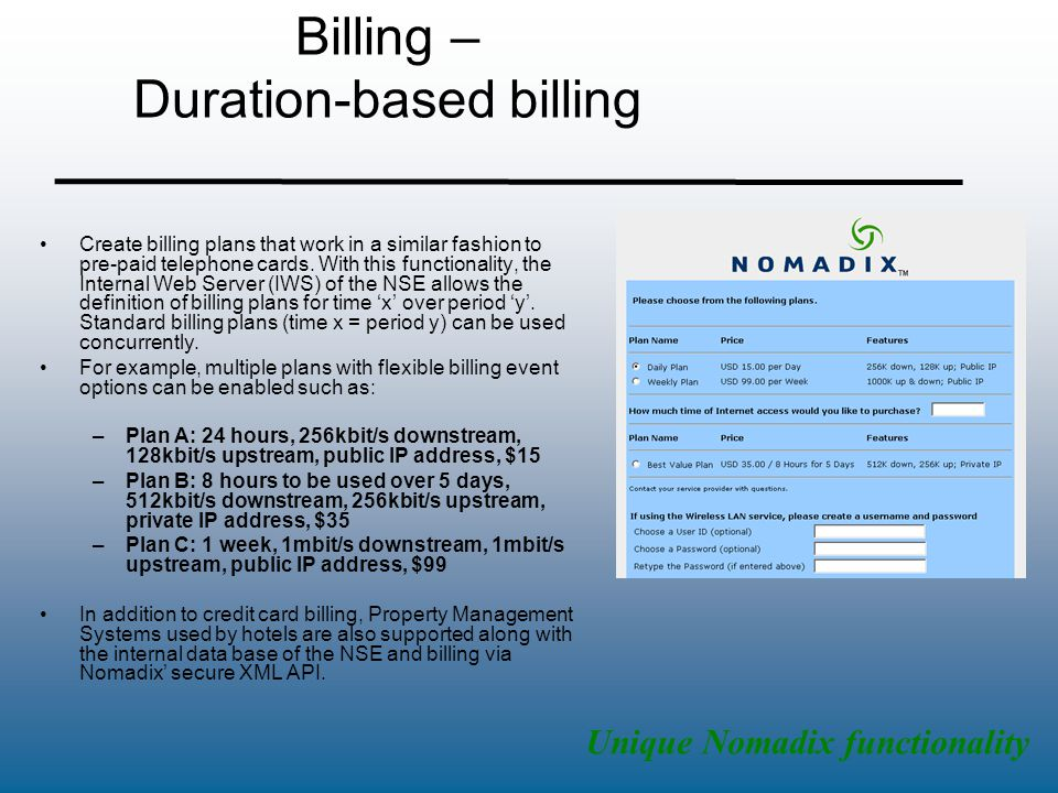Billing – Duration-based billing