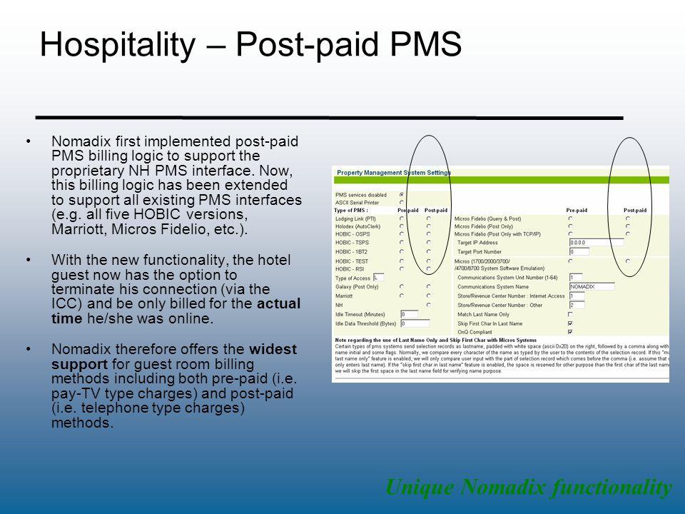 Hospitality – Post-paid PMS