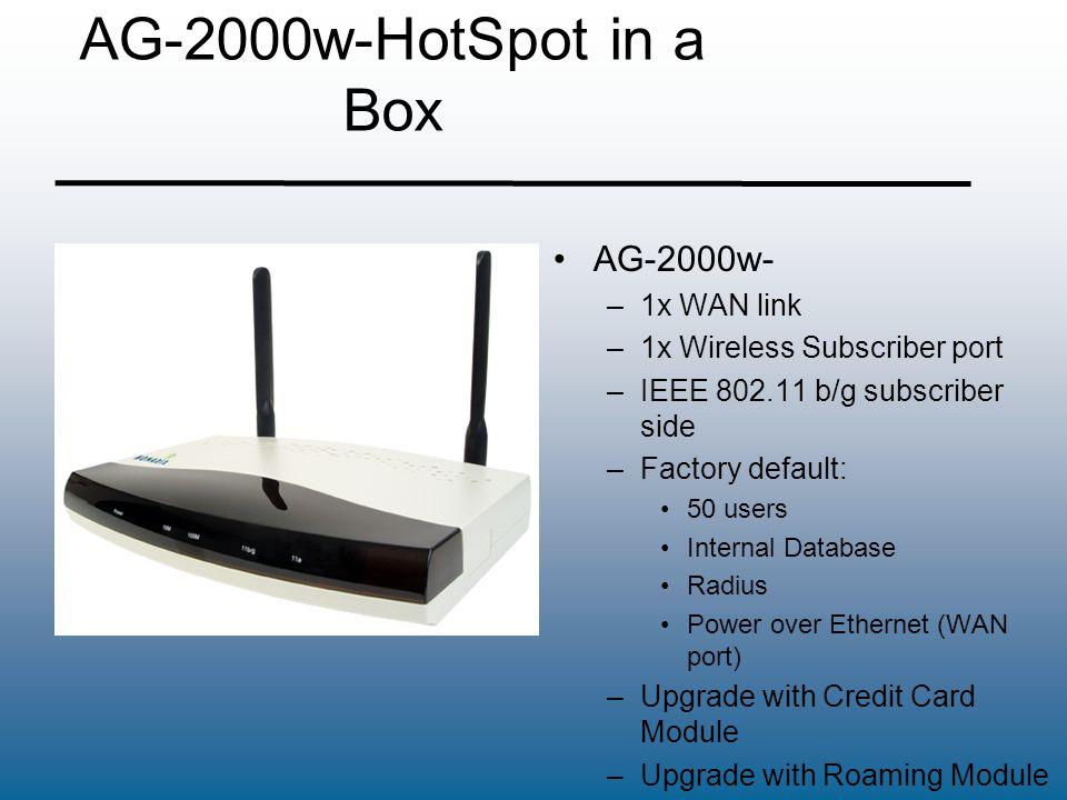 AG-2000w-HotSpot in a Box AG-2000w- 1x WAN link