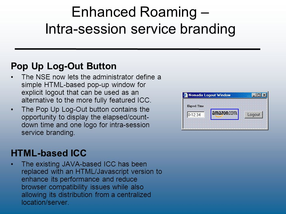 Enhanced Roaming – Intra-session service branding