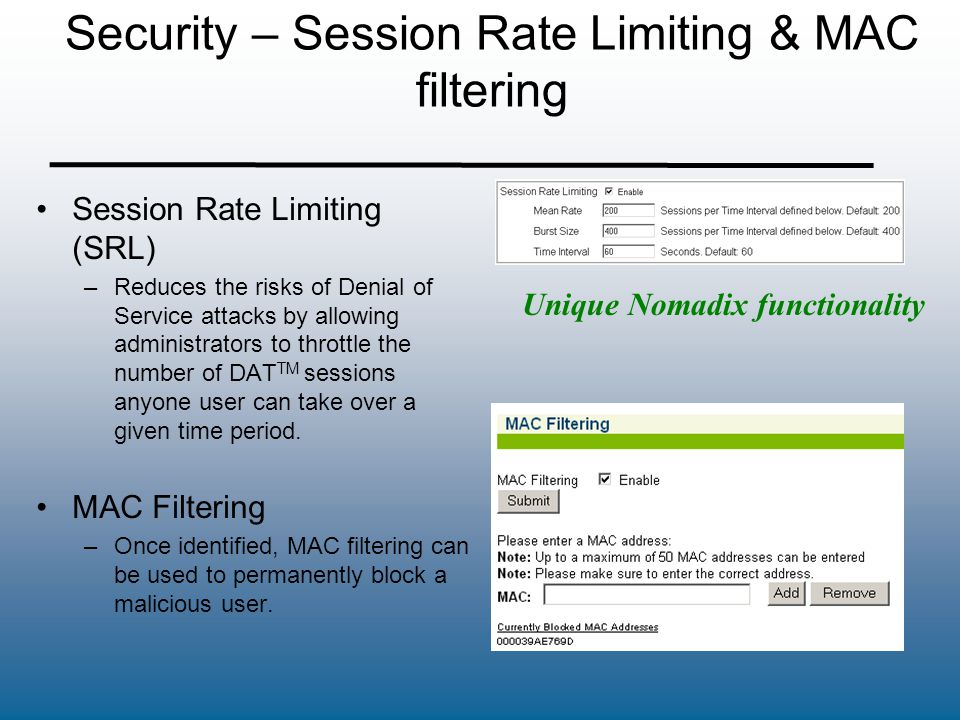 Security – Session Rate Limiting & MAC filtering