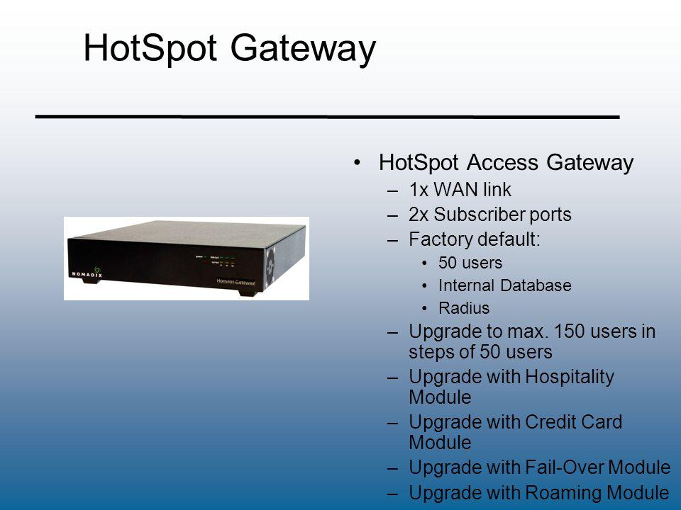 HotSpot Gateway HotSpot Access Gateway 1x WAN link 2x Subscriber ports