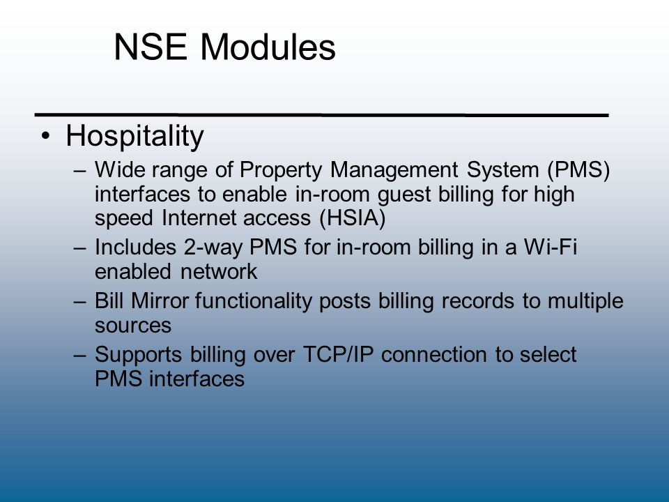 NSE Modules Hospitality
