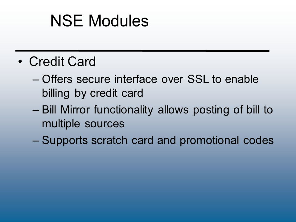 NSE Modules Credit Card