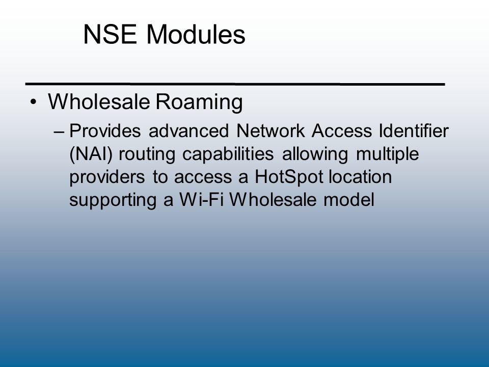 NSE Modules Wholesale Roaming