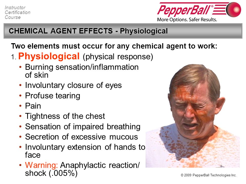CHEMICAL AGENT EFFECTS - Physiological