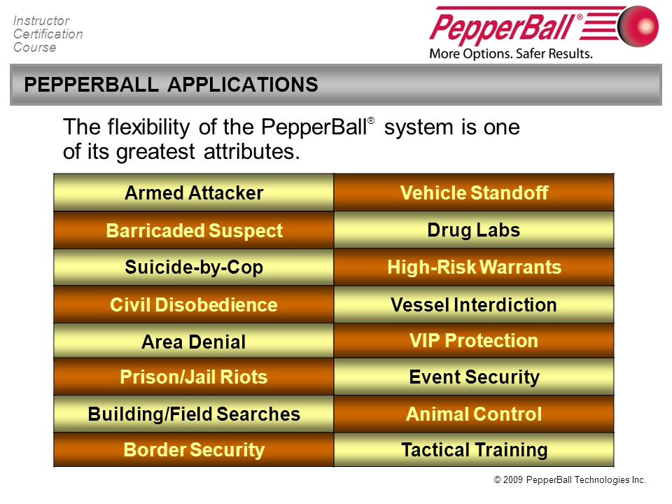 PEPPERBALL APPLICATIONS