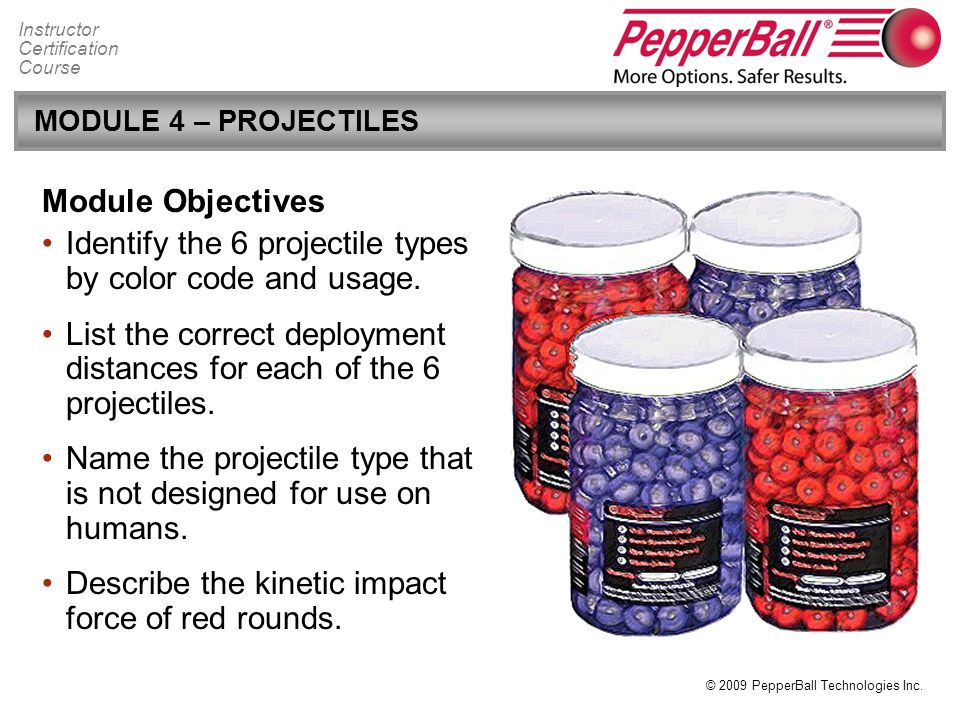 Identify the 6 projectile types by color code and usage.