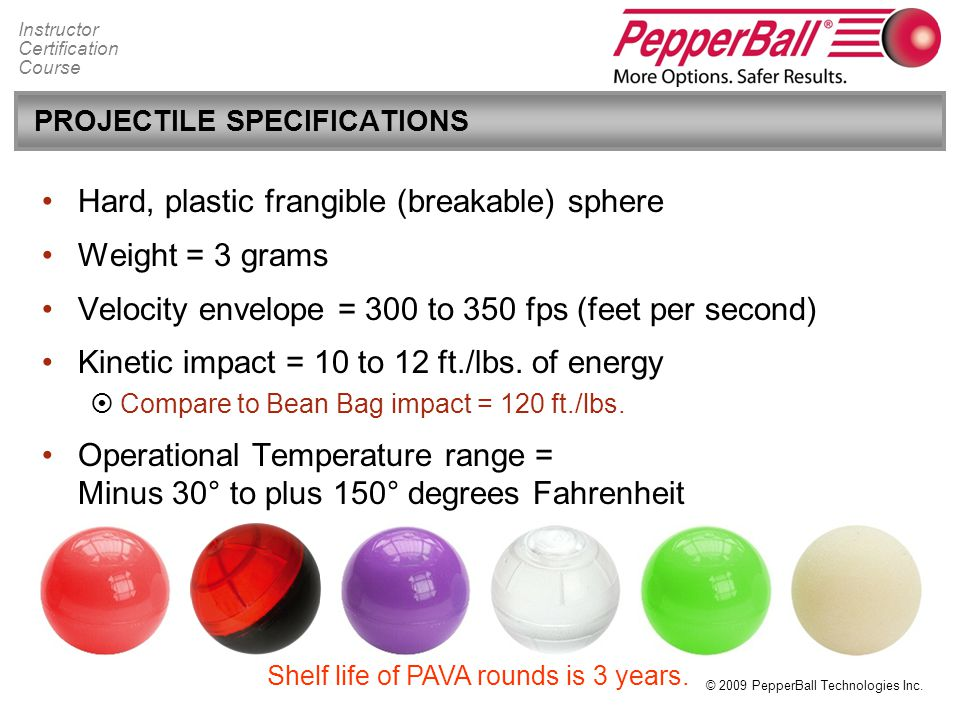 PROJECTILE SPECIFICATIONS