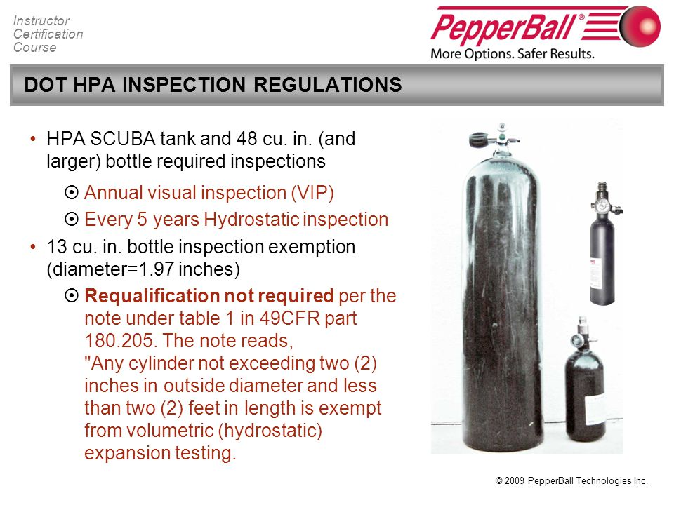 DOT HPA INSPECTION REGULATIONS