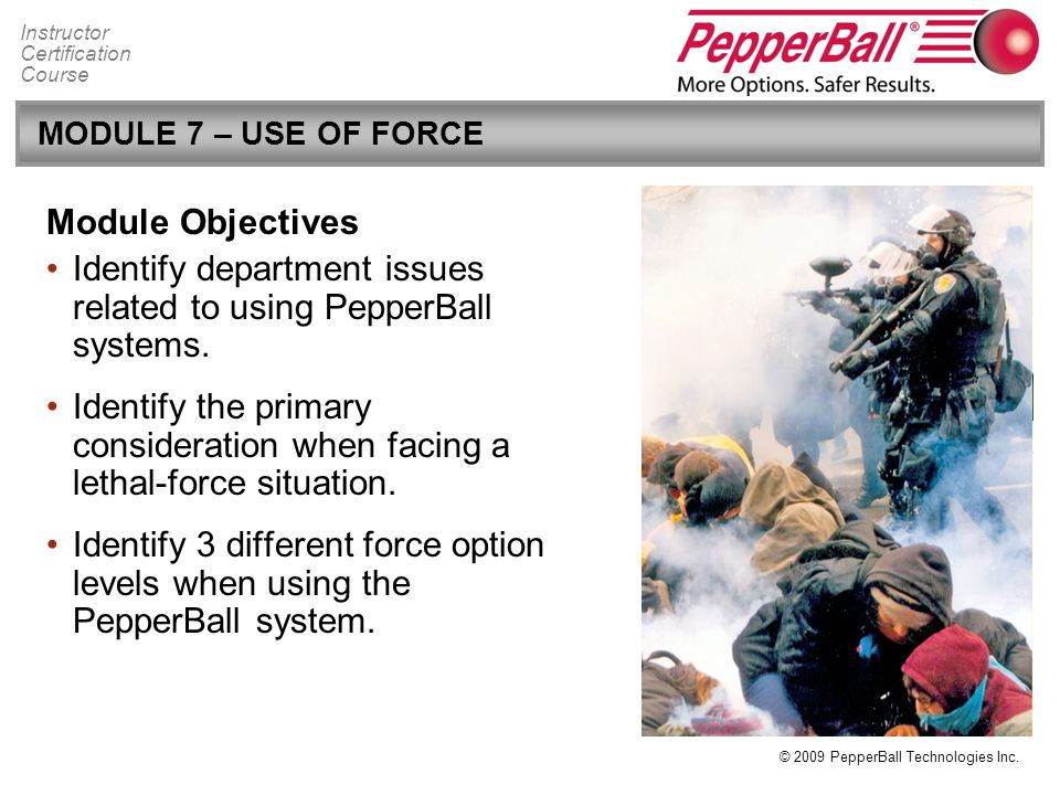 Identify department issues related to using PepperBall systems.