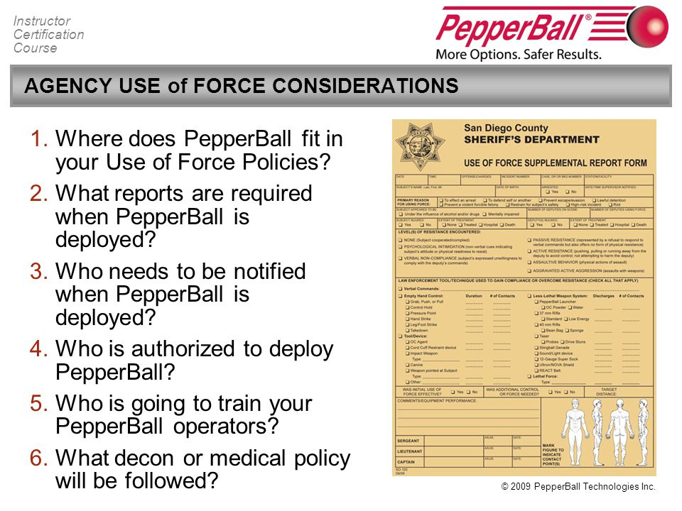 AGENCY USE of FORCE CONSIDERATIONS