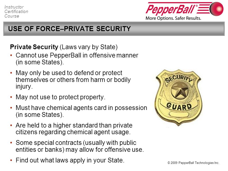 USE OF FORCE–PRIVATE SECURITY