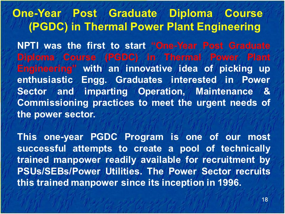 One-Year Post Graduate Diploma Course (PGDC) in Thermal Power Plant Engineering