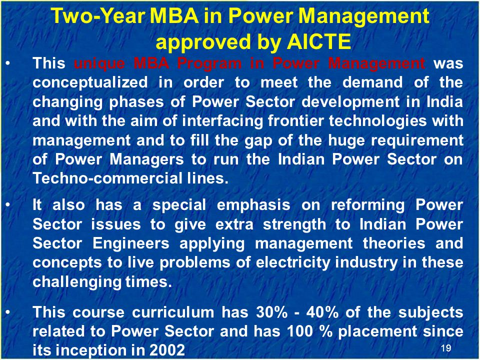Two-Year MBA in Power Management approved by AICTE