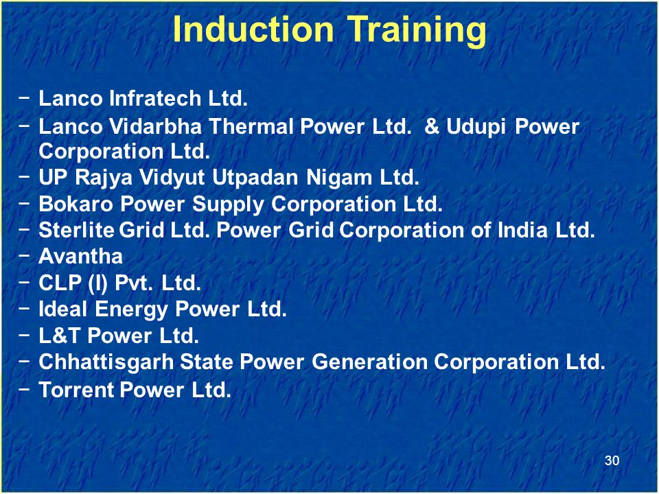 Induction Training Transnational Training Lanco Infratech Ltd.