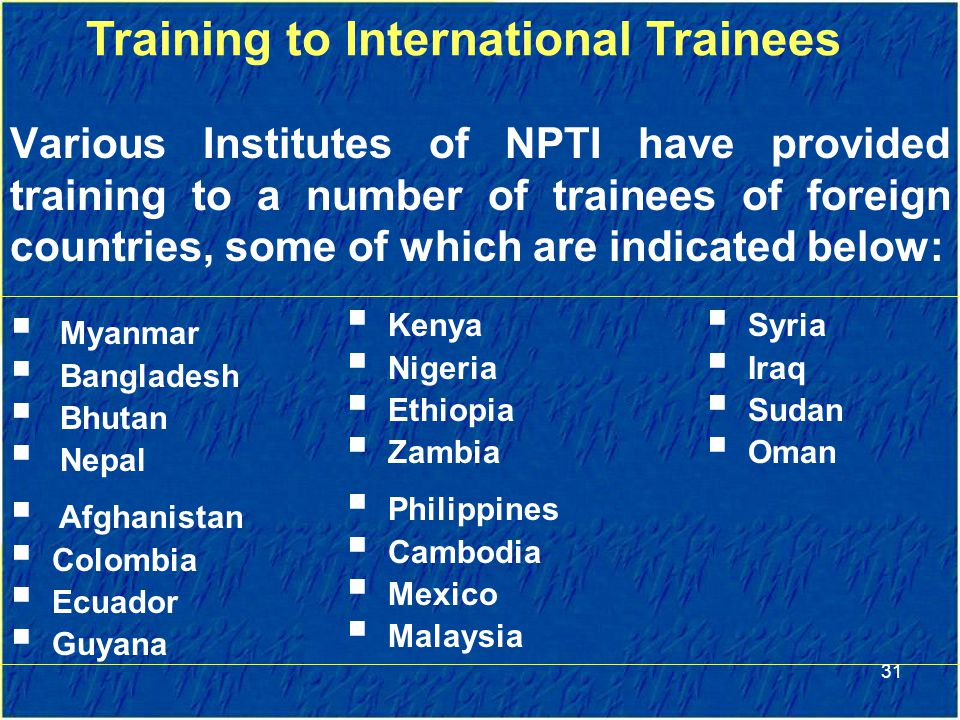 Training to International Trainees