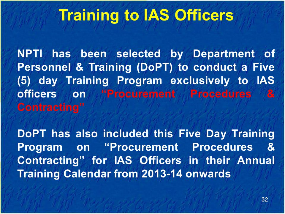 Training to IAS Officers