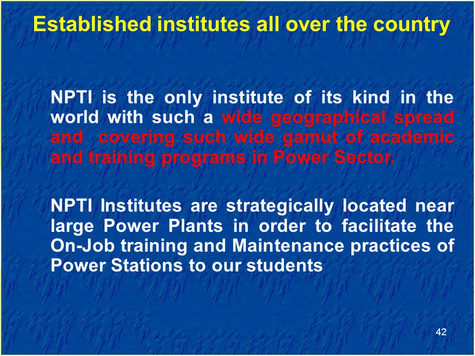 Established institutes all over the country