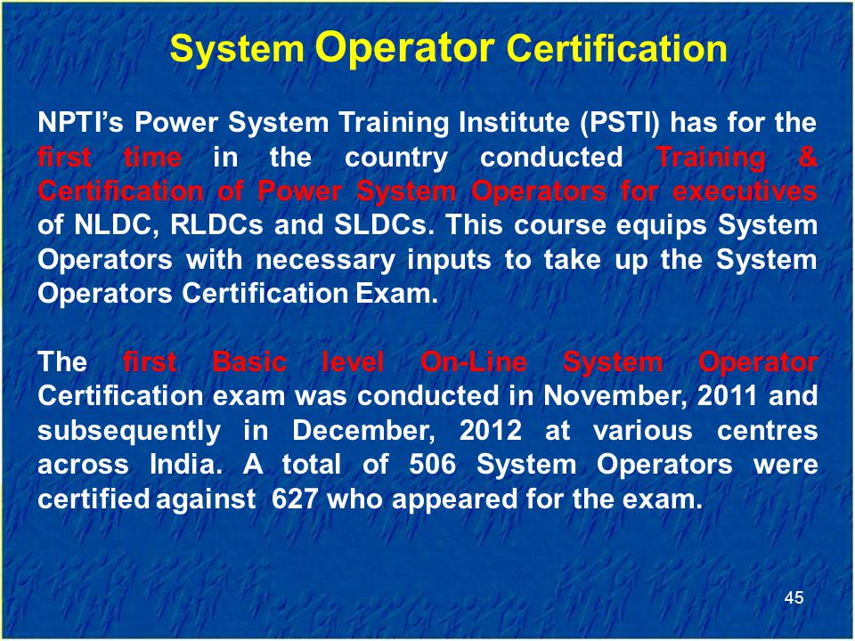 System Operator Certification