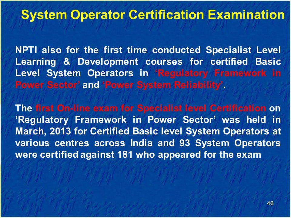 System Operator Certification Examination