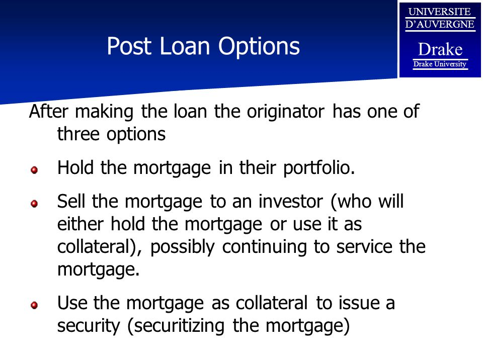 Post Loan Options After making the loan the originator has one of three options. Hold the mortgage in their portfolio.
