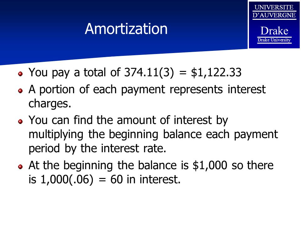 Amortization You pay a total of 374.11(3) = $1,122.33