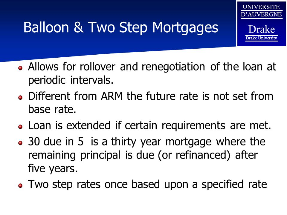 Balloon & Two Step Mortgages