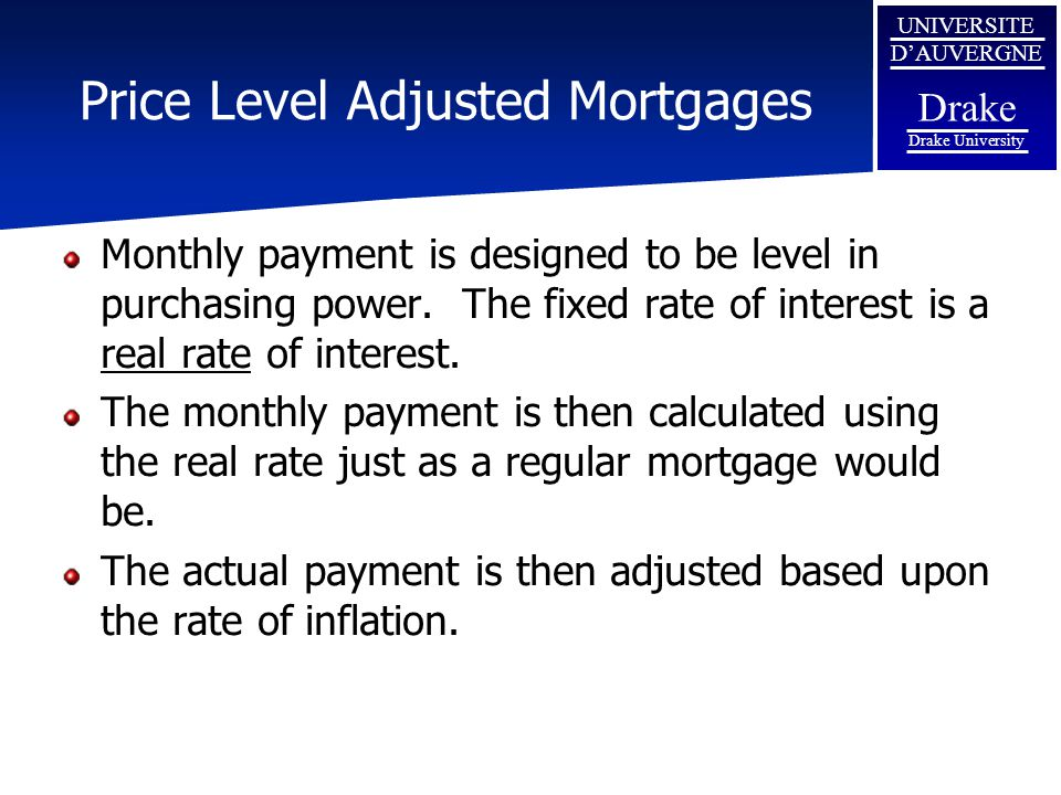 Price Level Adjusted Mortgages