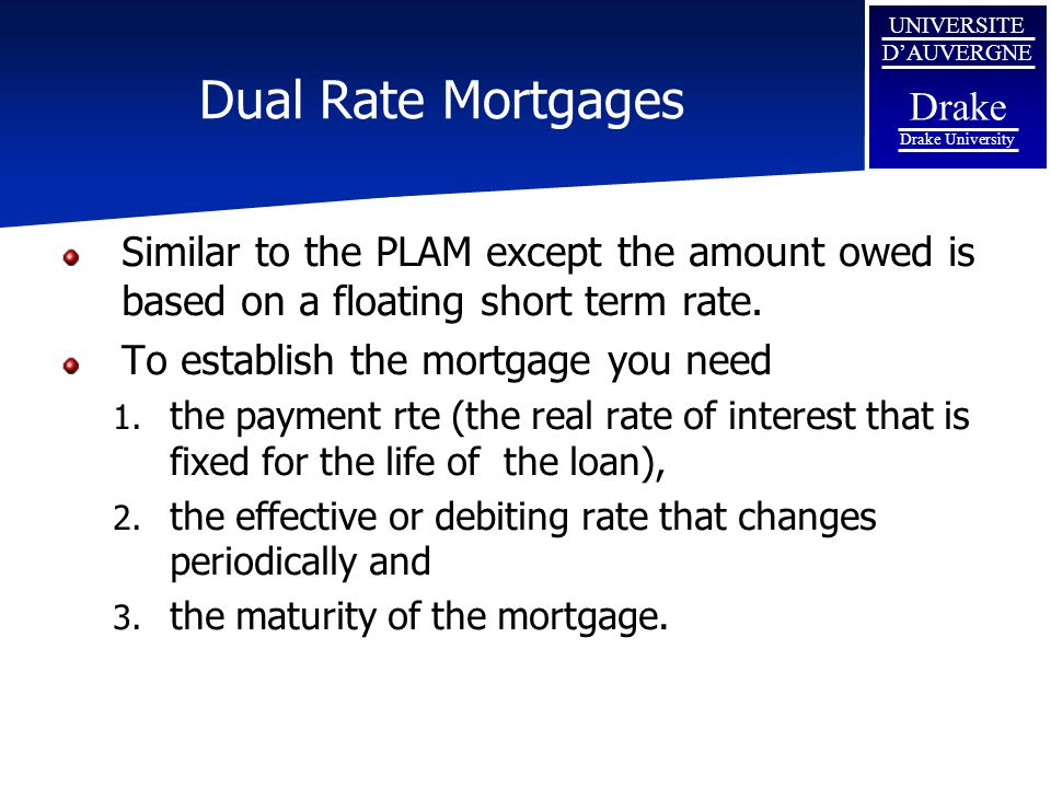 Dual Rate Mortgages Similar to the PLAM except the amount owed is based on a floating short term rate.