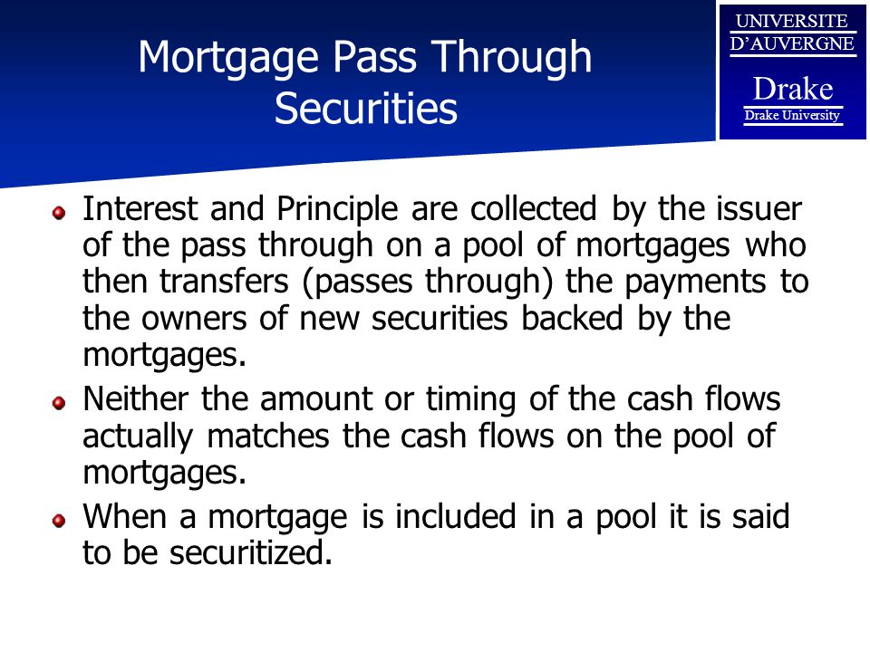 Mortgage Pass Through Securities