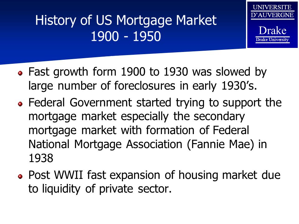History of US Mortgage Market 1900 - 1950