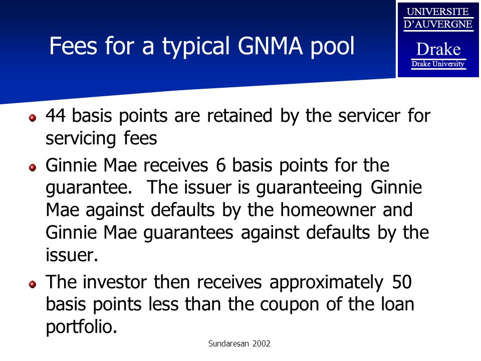 Fees for a typical GNMA pool
