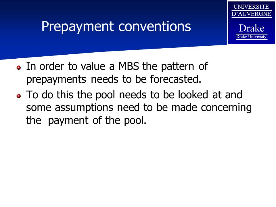 Prepayment conventions
