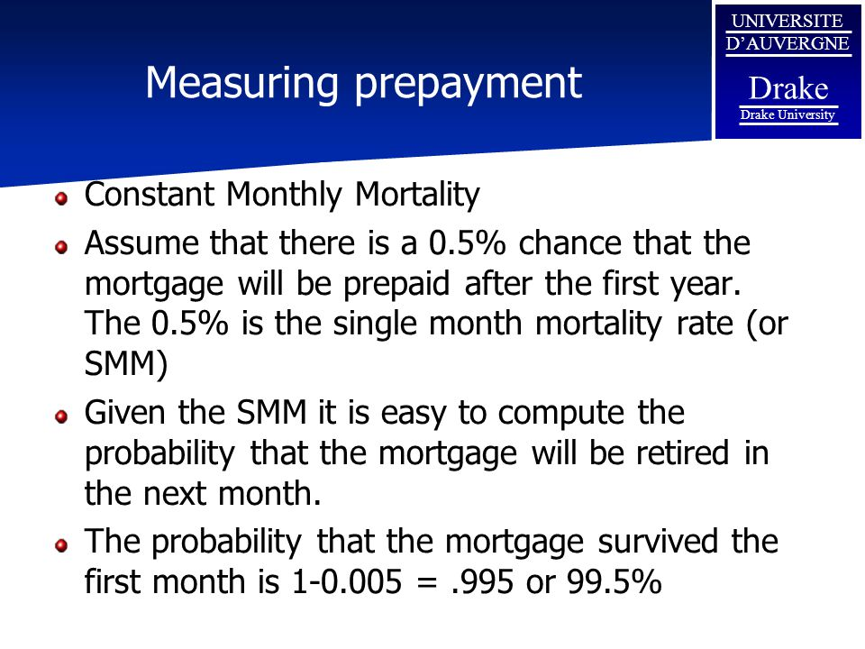 Measuring prepayment Constant Monthly Mortality
