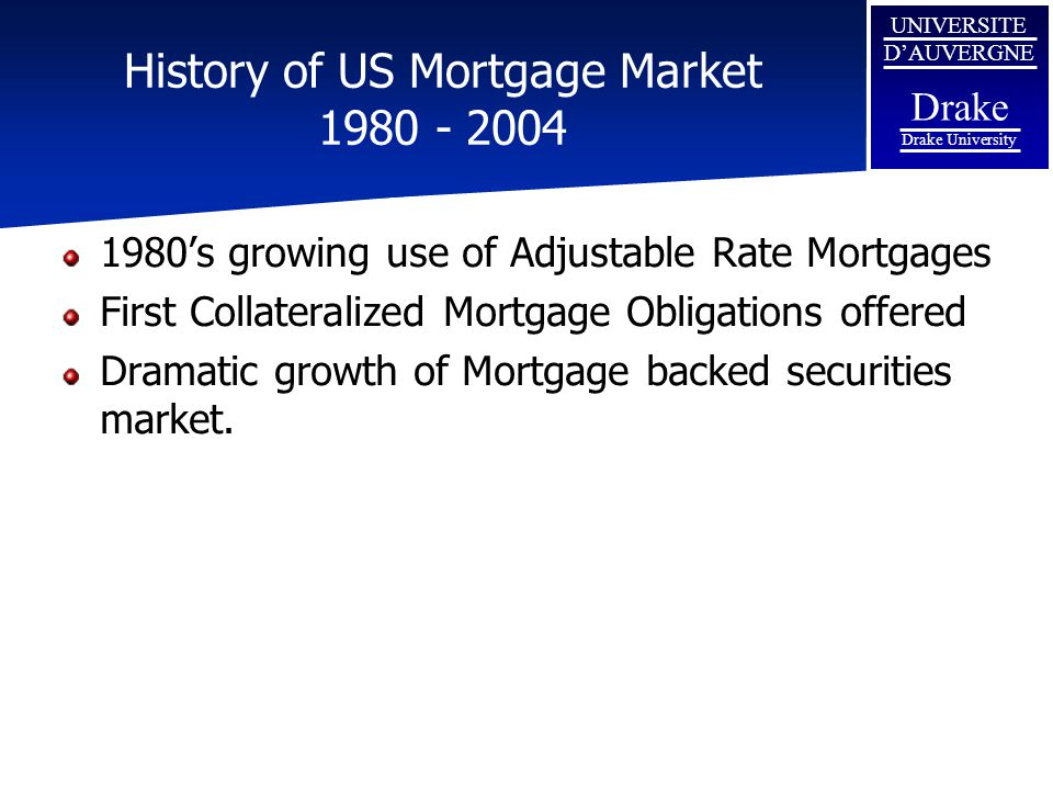 History of US Mortgage Market 1980 - 2004