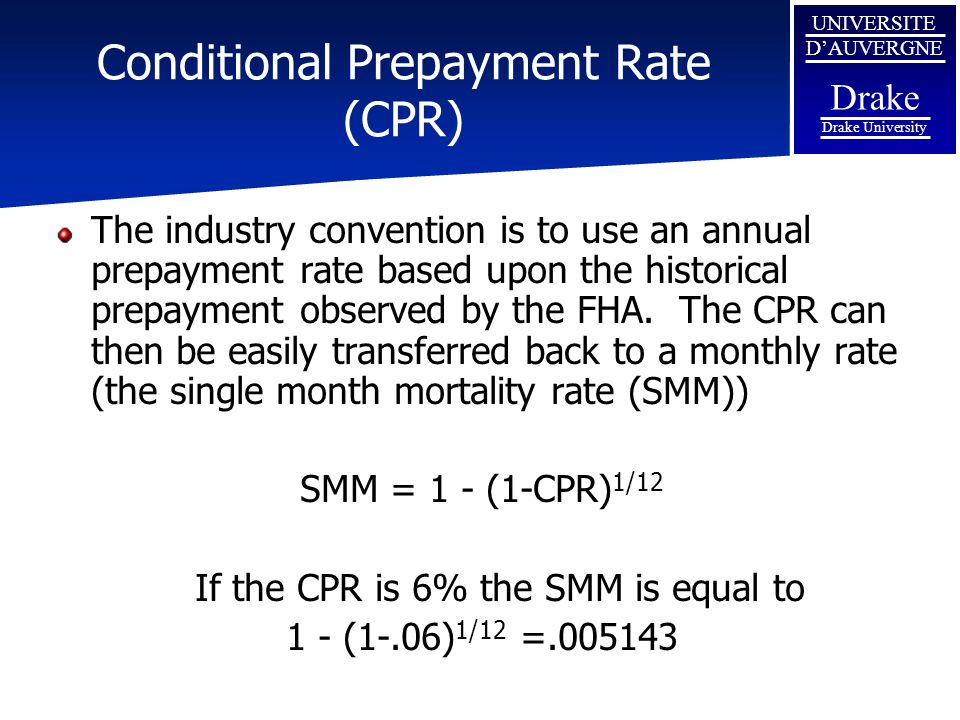 Conditional Prepayment Rate (CPR)