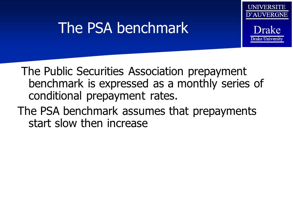 The PSA benchmark The Public Securities Association prepayment benchmark is expressed as a monthly series of conditional prepayment rates.