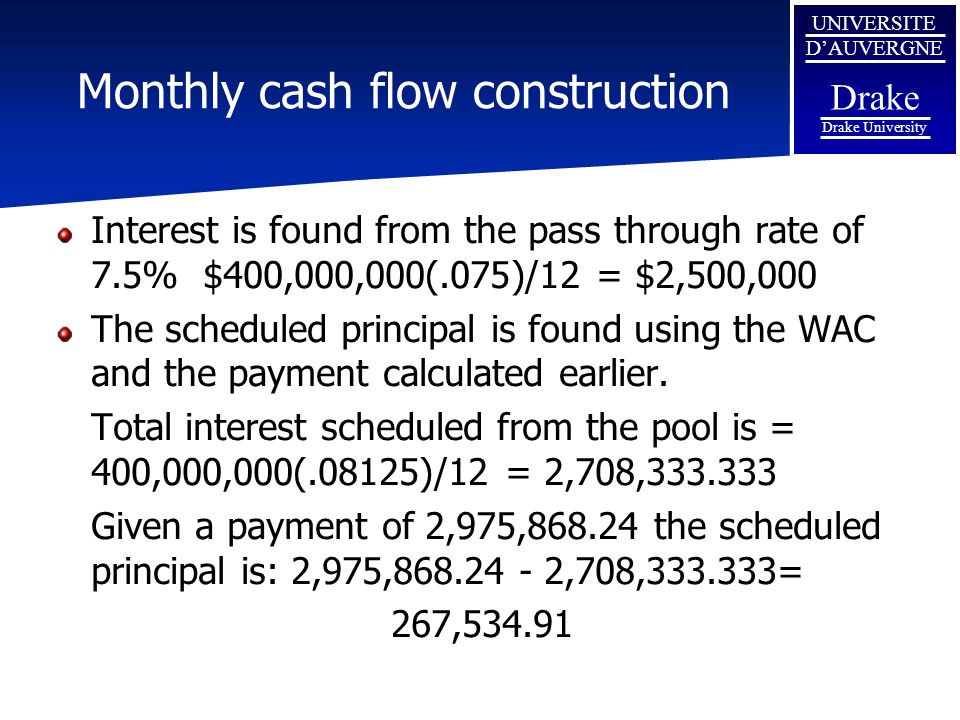 Monthly cash flow construction