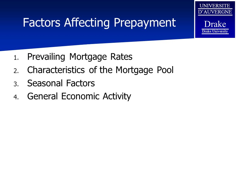 Factors Affecting Prepayment