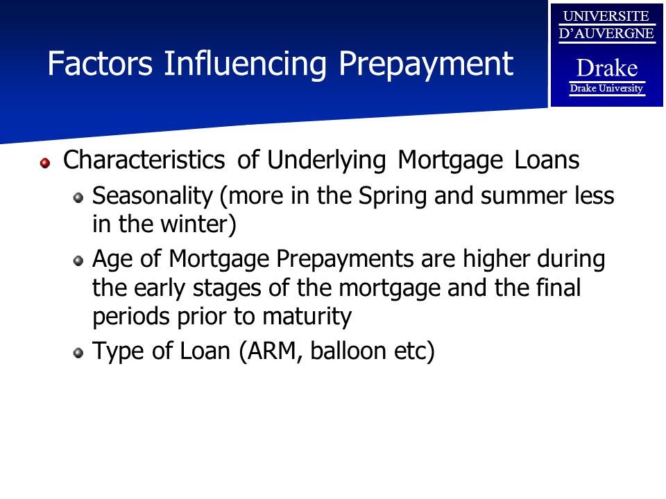 Factors Influencing Prepayment