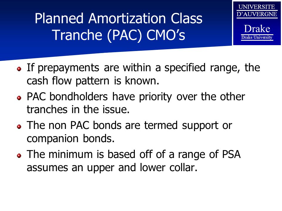 Planned Amortization Class Tranche (PAC) CMO's