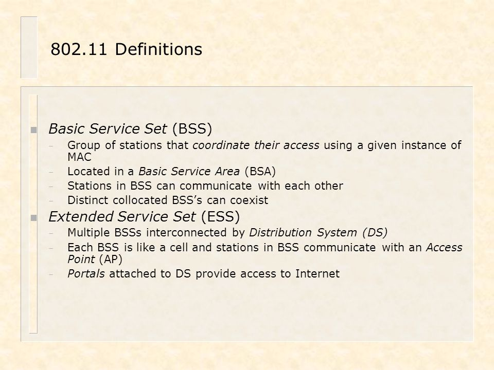 802.11 Definitions Basic Service Set (BSS) Extended Service Set (ESS)