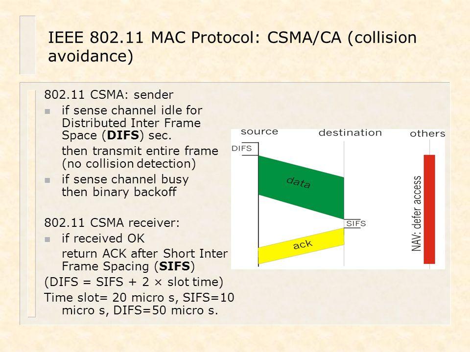 IEEE 802.11 MAC Protocol: CSMA/CA (collision avoidance)